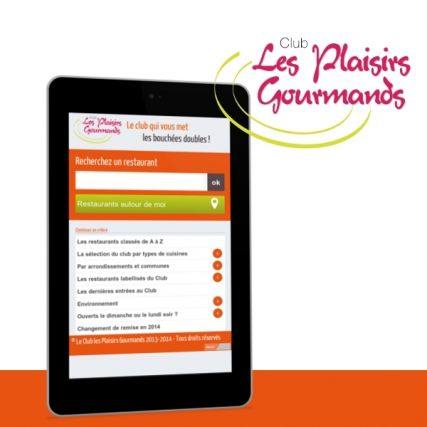Site mobile du Club Les Plaisirs Gourmands