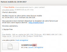 Exemple de spam avec virus
